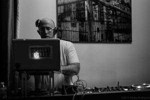 DJ Herbert Holler searching for his next song at Verboten in Brooklyn!