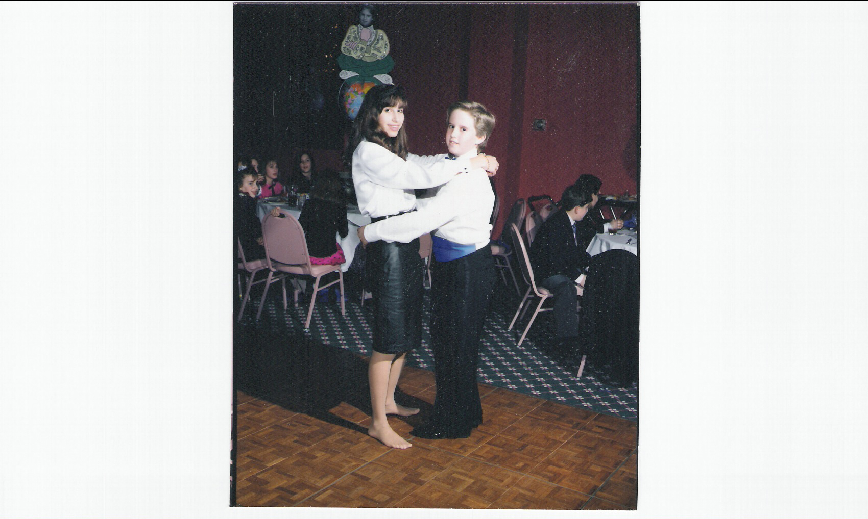 "Young player player for real for real at my Bar Mitzvah. (Okay she kinda HAD to dance with me. You can't say ""no"" to the Bar Mitzvah.)"