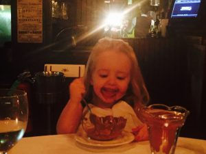 DJ Herbert Holler's daughter getting busy with a bowl of ice cream! But alas...She's not a DJ. And she doesn't party!